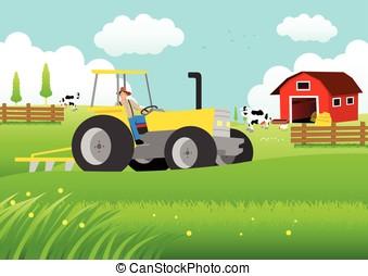 farmer, vezetés, egy, traktor