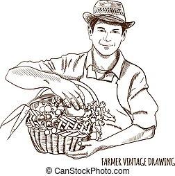 Farmer vintage drawing: VECTOR hand drawn illustration