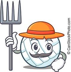 Farmer volley ball character cartoon vector illustration