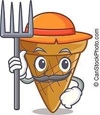 Farmer wafer cone character cartoon