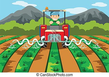 Farmer watering the farm with tractor