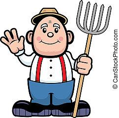 A happy cartoon farmer waving and smiling.