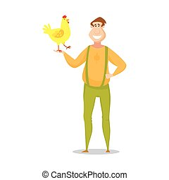 Farmer with a cute yellow chicken. Vector illustrations.