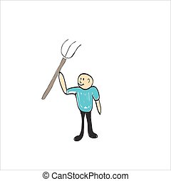 farmer with a pitchfork , illustrator