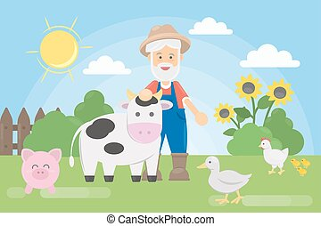 Farmer with animals.