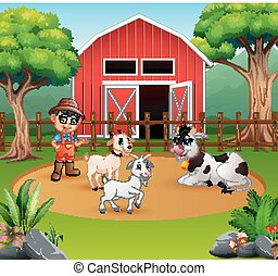 Farmer with animals in front of his barn