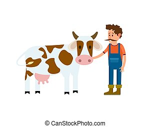 Farmer with cow isolated vector icon
