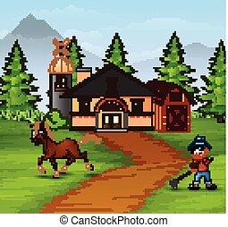 Farmer with farm animals on the farmhouse background