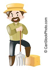 Farmer with fork and hay