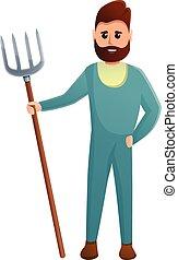 Farmer with fork icon, cartoon style