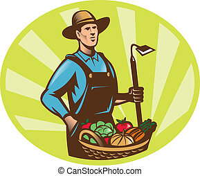 Farmer With Garden Hoe And Basket Crop Harvest - ...