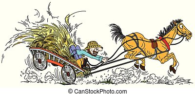 farmer with hay cart - cartoon old horse pulled a wooden ...