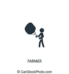 Farmer with haystack icon. Simple gardening element ...