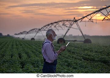 Farmer with irrigation system - Senior farmer holding tablet...