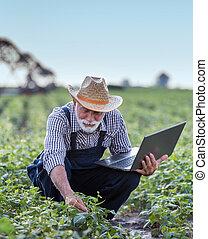 Farmer with laptop in field