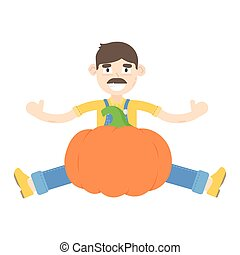 Farmer with mustache dressed in a blue jumpsuit sitting near the pumpkins