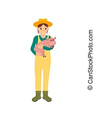 Farmer with Pig on Hands Icon Vector Illustration