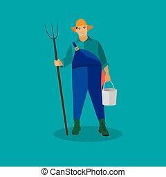 Farmer with pitchfork and bucke. Vector illustration in flat style