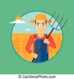 Farmer with pitchfork in wheat field.
