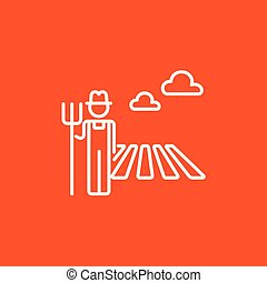 Farmer with pitchfork line icon.