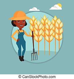 Farmer with pitchfork vector illustration.