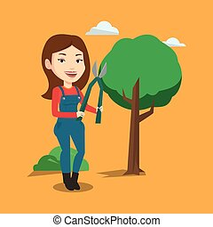 Farmer with pruner in garden vector illustration.