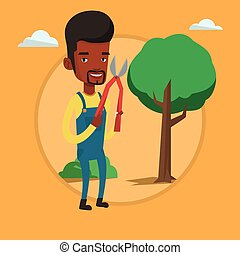Farmer with pruner in garden vector illustration.