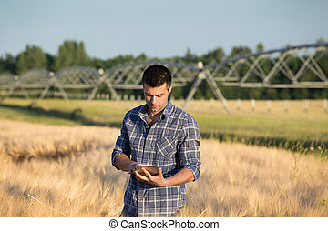 Young handsome farmer with tablet standing in wheat field with irrigation system in background