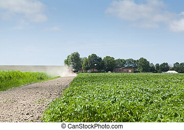 Farmer with tractor and plow in field