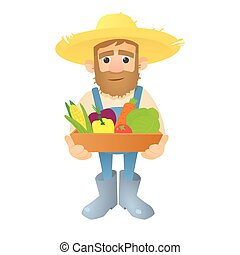 Farmer with vegetables icon, flat style