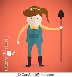 Farmer woman with shovel on orange background Vector