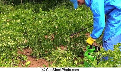farmer work field - Farmer man in waterproof clothes pump...