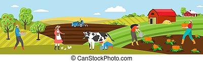 Farmer work on farm field vector illustration, cartoon flat people on farmland countryside, milk cow, feed chicken or plant vegetables