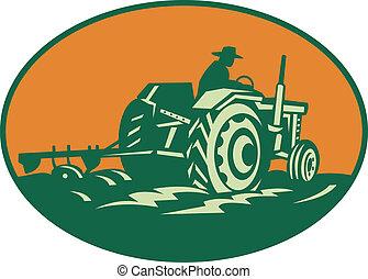 Farmer Worker Driving Farm Tractor - Retro illustration of a...