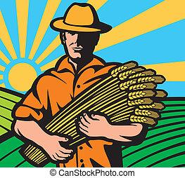 farmer worker holding a wheat
