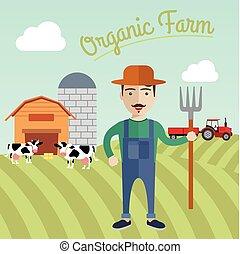 Farmer working in the farm, Organic farm concept