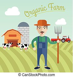 Farmer working in the farm, Organic farm concept