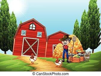 Farmer working in the farm outside