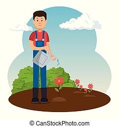 farmer working in the garden