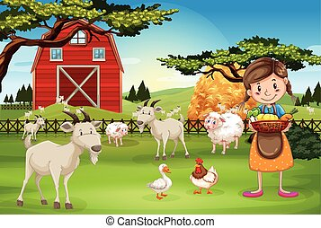 Farmer working on the farm with animals