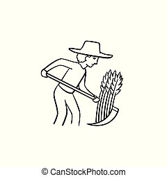 Farmer working on the field hand drawn sketch icon