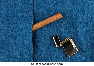 farmeranyag, mód, jacket., öngyújtó, szivar, fekvő, lifestyle.