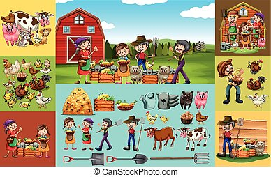 Farmers and animals on the farm