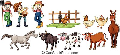 Farmers and farm animals set