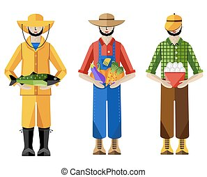 Farmers and fisherman, vector illustration