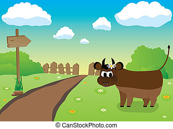 Farmers Bull - Bull near road to the farm