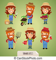 Farmers Cartoon Characters Set1.1 In the EPS file, each...