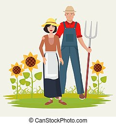 Farmers couple man and woman. Male and female gardener.