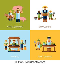 Farmers Design Concept - Farmers design concept set with ...