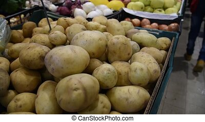 Farmers` food market stall with variety of organic vegetable